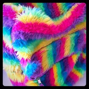 Backpack.  Fuzzy rainbow colors girls